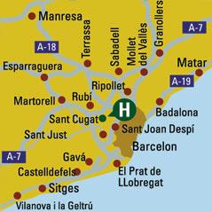 Plano de acceso de Hotel H And R Sant Cugat