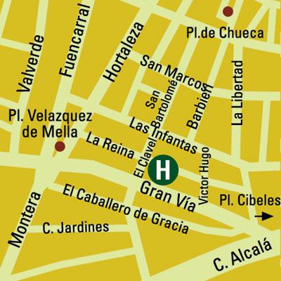 Plano de acceso de Hotel De Las Letras H And R