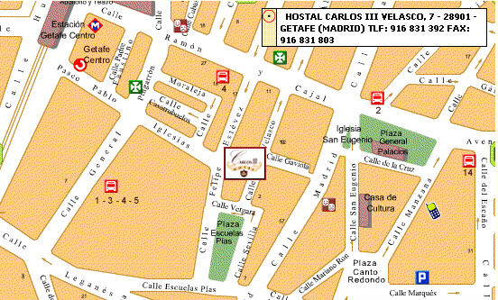 Plano de acceso de Hotel Hostal Carlos  Iii