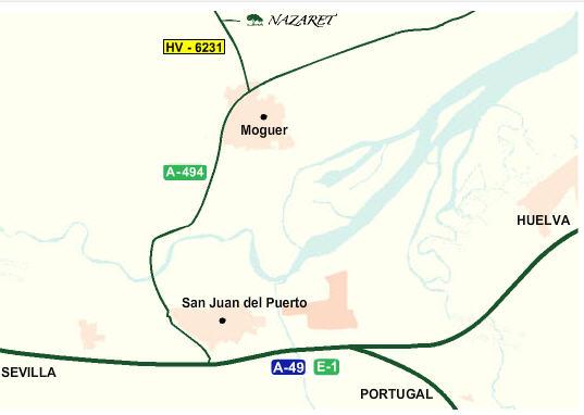 Plano de acceso de Hotel Nazaret De Moguer