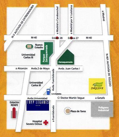 Plano de acceso de Hotel Tryp Leganes