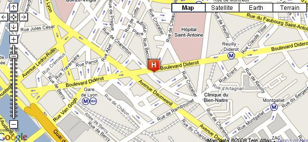 Plano de acceso de Hotel Trianon Gare De Lyon