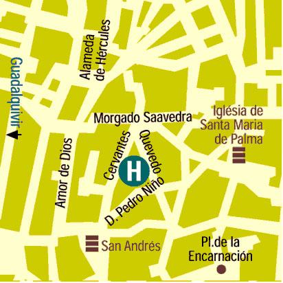 Plano de acceso de Hotel Cervantes