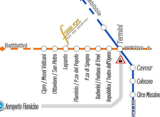 Plano de acceso de Hotel B And B Ferrari Home