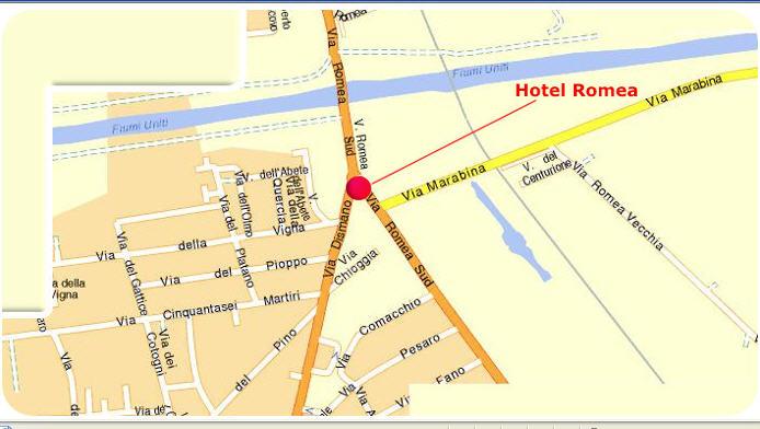 Plano de acceso de Hotel Romea