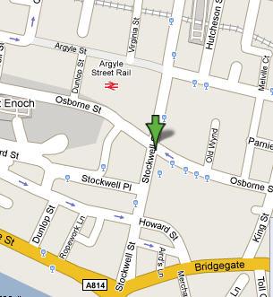 Plano de acceso de Hotel Holiday Inn Express Glasgow Riverside