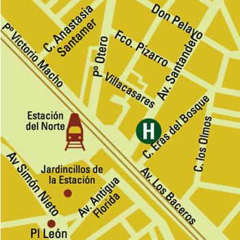 Plano de acceso de Hotel Husa Zurbaran