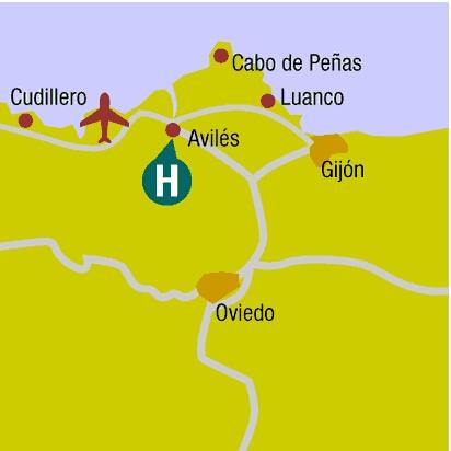 Plano de acceso de Hotel Silken Villa De Aviles