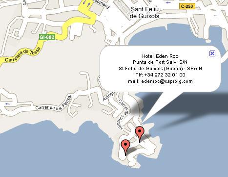 Plano de acceso de Hotel Eden Roc