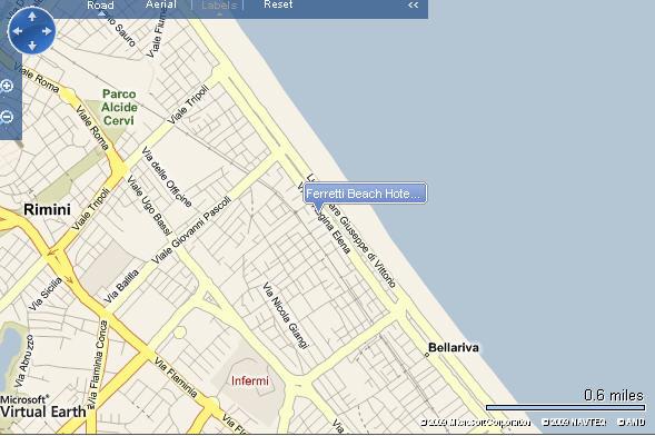 Plano de acceso de Hotel Ferretti Beach Resort