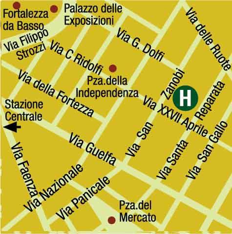 Plano de acceso de Hotel Cellai