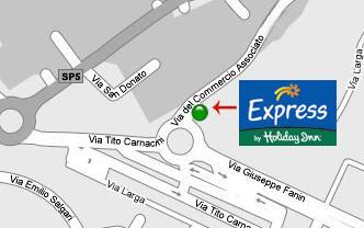 Plano de acceso de Hotel Express Holiday Inn Bologna Fiera