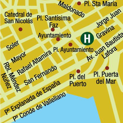 Plano de acceso de Hotel Ciudad Alicante Tryp