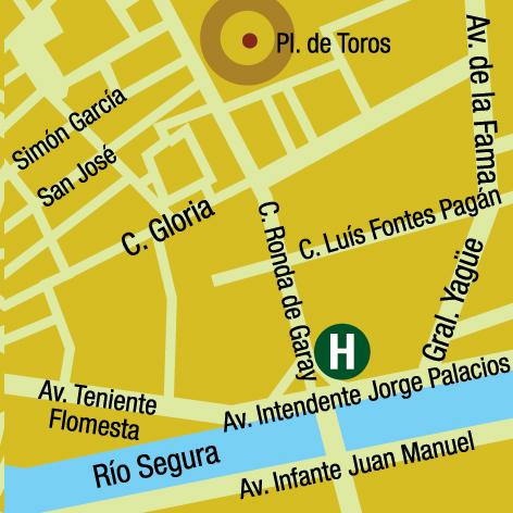 Plano de acceso de Hotel Silken 7 Coronas