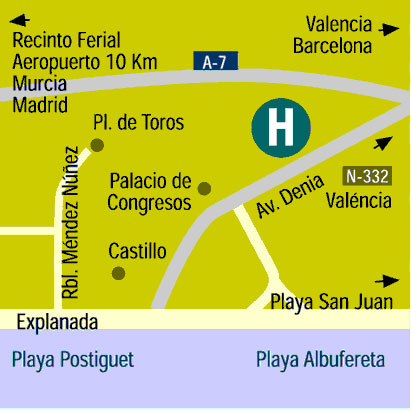 Plano de acceso de Hotel Daniya Alicante