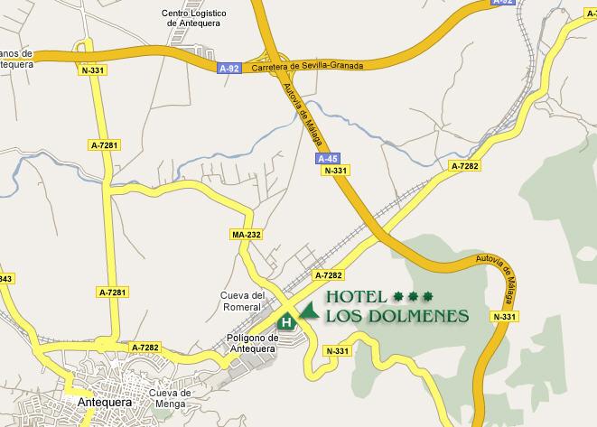 Plano de acceso de Hotel Los Dolmenes
