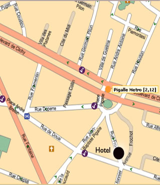 Plano de acceso de Hotel Opera Frochot
