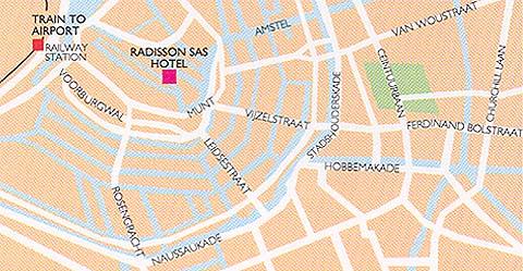 Plano de acceso de Hotel Radisson Blu Amsterdam
