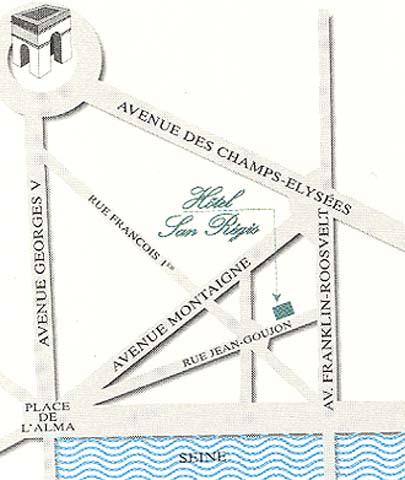 Plano de acceso de Hotel San Regis