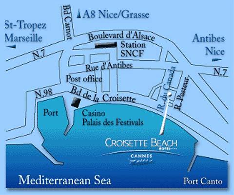 Plano de acceso de Hotel Grand Mercure Croisette Beach