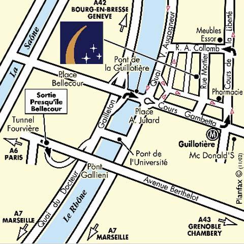 Plano de acceso de Hotel Campanile Lyon Centre Berges Du Rhone