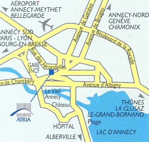 Plano de acceso de Hotel Novotel Annecy Centre Atria
