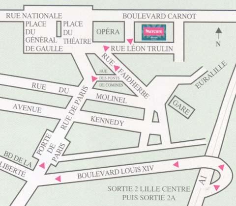 Plano de acceso de Hotel Mercure Lille Centre Opera