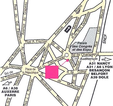 Plano de acceso de Hotel Mercure Dijon Clemenceau