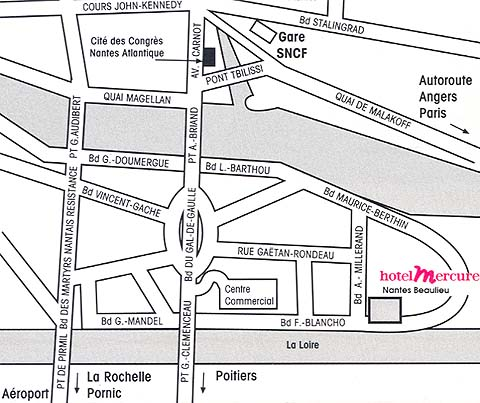 Plano de acceso de Hotel Mercure Ile De Nantes