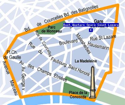 Plano de acceso de Hotel Best Western Opera Saint Lazare