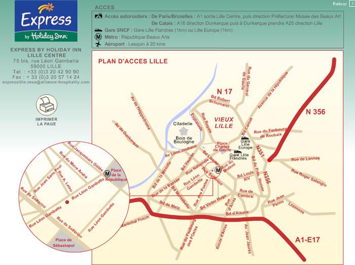 Plano de acceso de Hotel Holiday Inn Express Lille