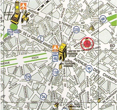 Plano de acceso de Hotel Le Royal Monceau - Raffles Paris