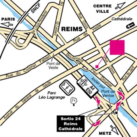 Plano de acceso de Hotel Mercure Reims Cathedrale