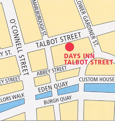 Plano de acceso de Hotel Dublin City Inn