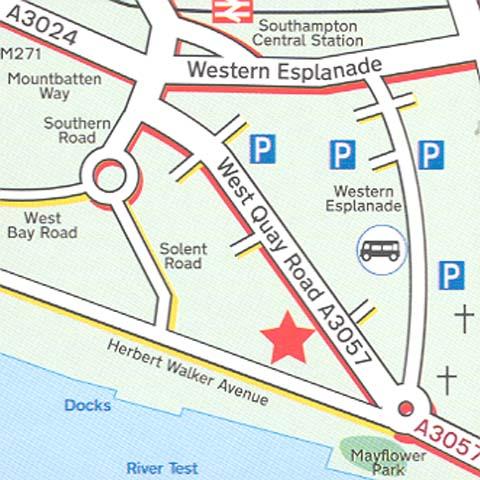 Plano de acceso de Hotel Holiday Inn Southampton