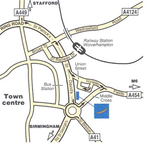 Plano de acceso de Hotel Novotel Wolverhampton