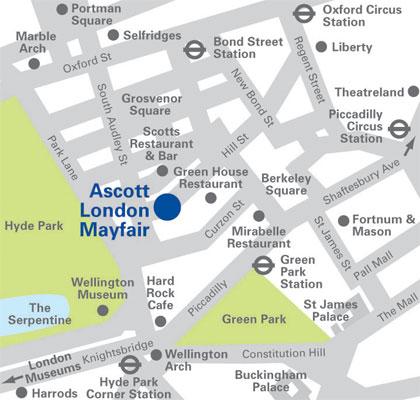 Plano de acceso de Hotel Ascott Mayfair