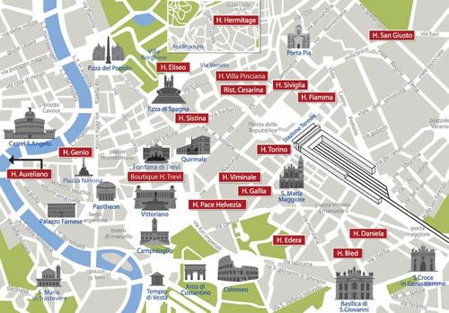 Plano de acceso de Hotel Viminale