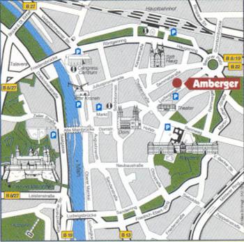 Plano de acceso de Hotel Amberger