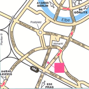 Plano de acceso de Hotel Pullman Newa Dresden
