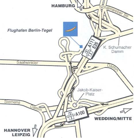 Plano de acceso de Hotel Mercure Airport Berlin Tegel