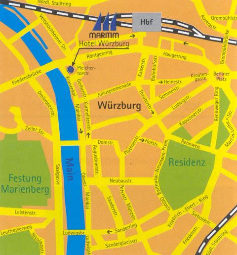 Plano de acceso de Hotel Maritim Wurzburg