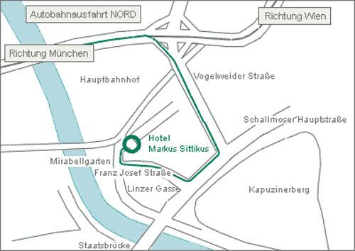 Plano de acceso de Hotel Markus Sittikus