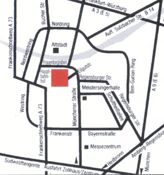 Plano de acceso de Hotel Intercity Nuremberg