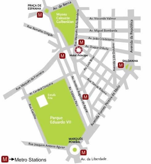 Plano de acceso de Hotel Principe Lisboa