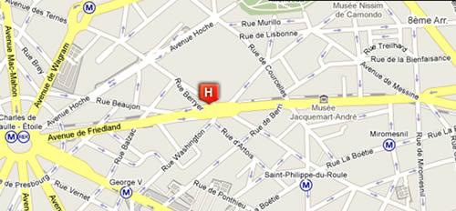 Plano de acceso de Hotel Champs Elysées Friedland