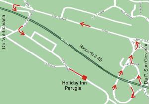 Plano de acceso de Hotel Holiday Inn Perugia