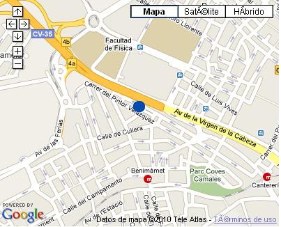 Plano de acceso de Hotel Nh Jardines Del Turia