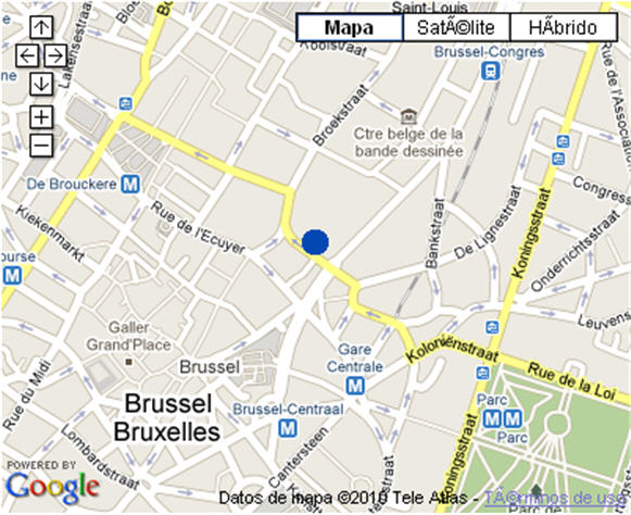 Plano de acceso de Hotel Nh Grand Place Arenberg