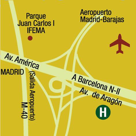 Plano de acceso de Auditorium Madrid Hotel